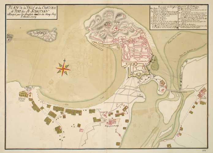 Map of the siege of St Sebastian, 1719 (San Sebastian, Basque Country, Spain) 43?18'46