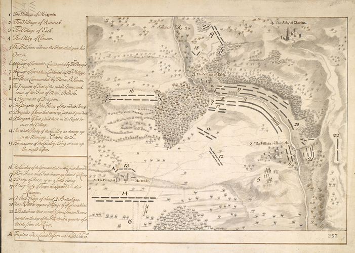 Map of Rivenich, the Moselle and the Battle of Klausen, 1735 (Rivenich, Rhineland-Palatinate, Germany) 49?53?00?N 06?51?00?E; Klausen, Rhineland-Palatinate, Germany) 49?54?00?N 06?52?00?E