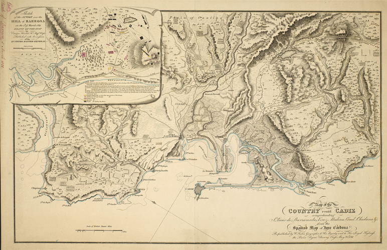 Map of Cadiz and the Battle of Barrosa, 1811 (Cadiz, Andalusia, Spain) 36?32'01
