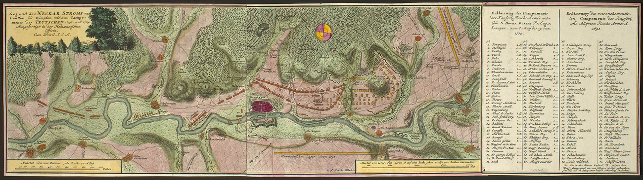 Map of encampments near River Neckar, Heilbronn, Lauffen and Wimpfen, 1693 and 1734 (Heilbronn, Baden-Wurttemberg, Germany) 49?08?23?N 09?13?13?E; (Lauffen am Neckar, Baden-Wurttemberg, Germany) 49?04