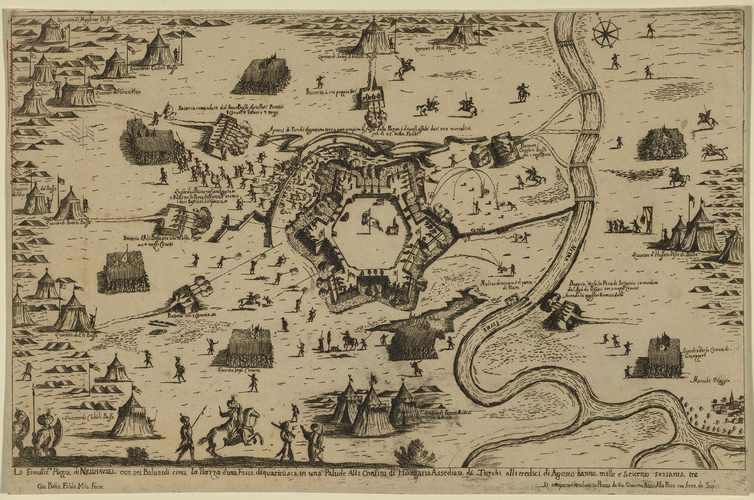 A map of Nove Zamky c. 1663, (Nove Zamky [Neuhausel, Ersekujvar], Nitriansky, Slovakia) 47?59?07?N 18?09?43?E
