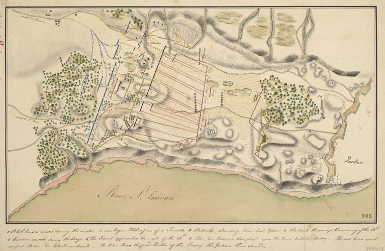 Map of the Battle of Sainte Foy [Battle of Quebec], 1760 (Quebec, Canada) 46?47'51