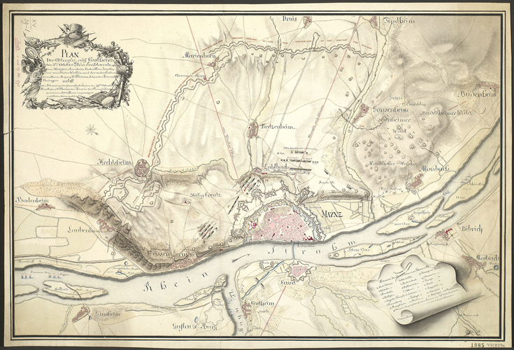 Item: Map of Costheim and Mainz, 1795 (Mainz-Kostheim, Hesse, Germany) 50?00'18