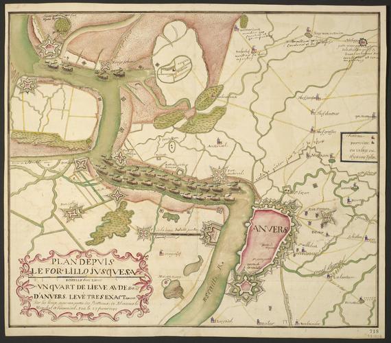 Map of Antwerp and Fort Lillo, 1748 (Antwerp, Flanders, Belgium) 51?13'11
