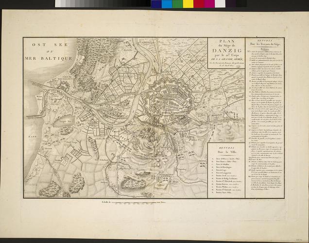 Map of the siege of Danzig, 1807 (Gdansk, Pomeranian Voivodship, Poland) 54?21'07