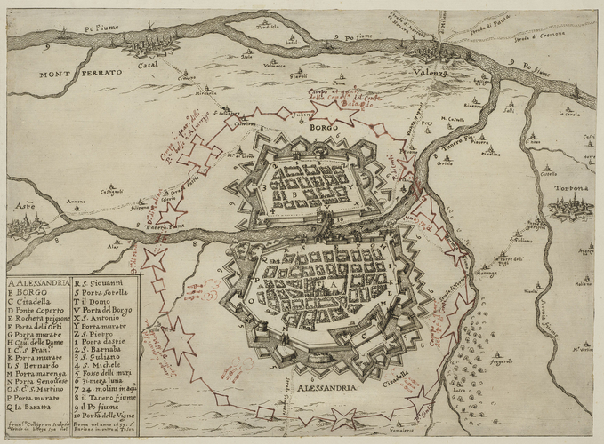 Map of Alessandria, 1657 (Alessandria, Piedmont, Italy) 44?54?33?N 08?36?36?E