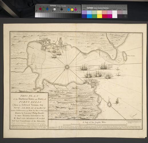 Map of the Battle of Porto Bello, 1739 (Portobelo, Colon, Panama) 09?33'00