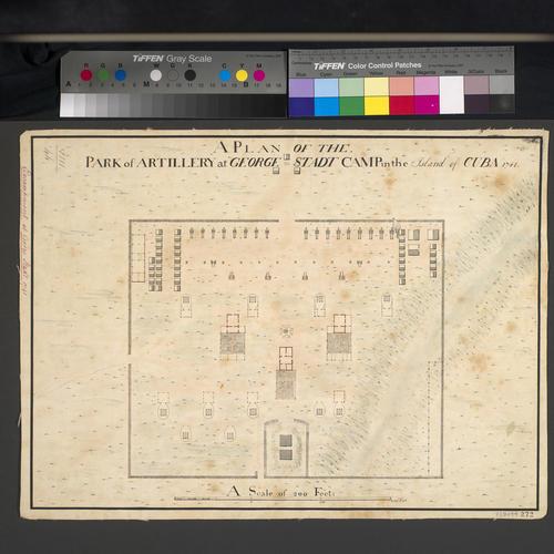 Plan of artillery park at George Stadt, 1741 (Guantanamo River, near Guantanamo?, Cuba) 20?08'40
