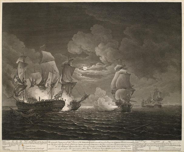 View of naval engagement at Flamborough head, 1779 (Flamborough Head, East Riding of Yorkshire, UK) 54?06'59