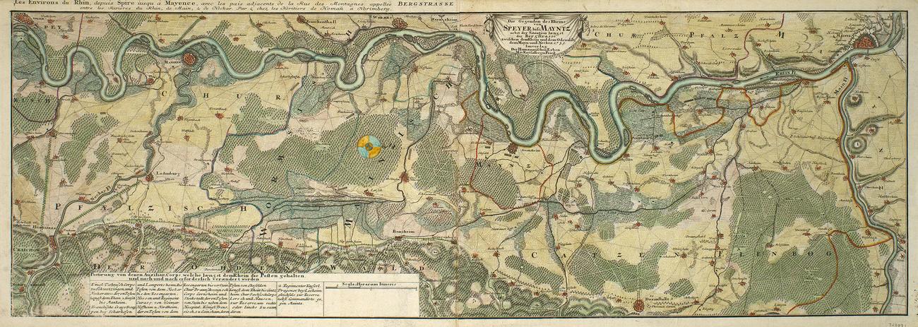 Map of the Rhine, Mainz and Speyer, 1735 (Mainz, Rhineland-Palatinate, Germany) 49?59'03
