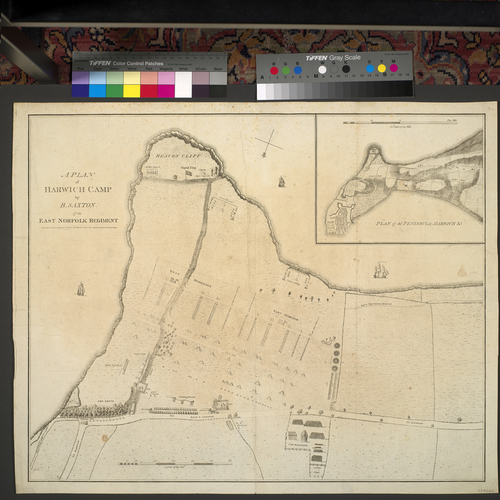 Plan of encampment at Harwich, 1780 (Harwick, Essex, UK) 51?56'31