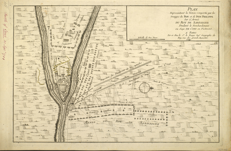Map of the siege of Cuneo, 1744 (Cuneo, Piedmont, Italy) 44?23'50