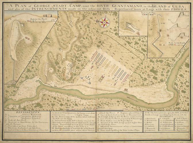 Map of the encampment at George Stadt, 1741 (Guantanamo River, near Guantanamo?, Cuba) 20?08'40