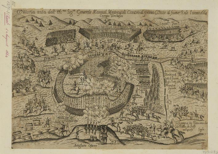 Item: A view of the Battle of Mogersdorf, 1664 (Mogersdorf, Burgenland, Austria) 46?56?57?N 16?13?56?E; Szentgotthard (Szentgotthard [St Gotthard], Vas, Hungary) 46?57?09?N 16?16?25?E
