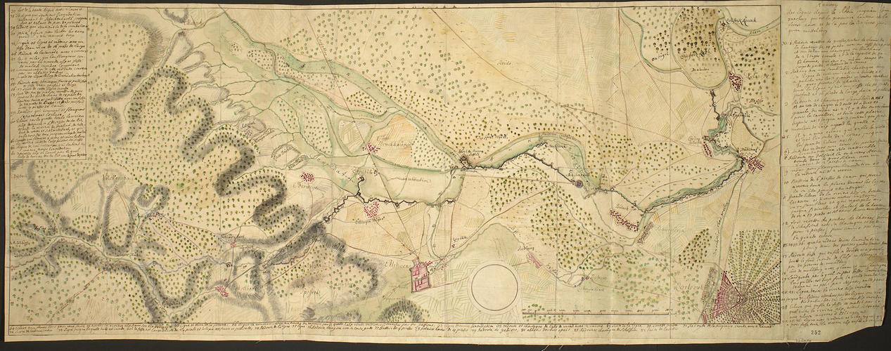 Map of the Rhine, Ettlingen and Muhlberg, 1735 (Ettlingen, Baden-Wurttemberg, Germany) 48?56?27?N 08?24?27?E; (Muhlberg, Baden-Wurttemberg, Germany (49?00?46?N 08?21?33?E)