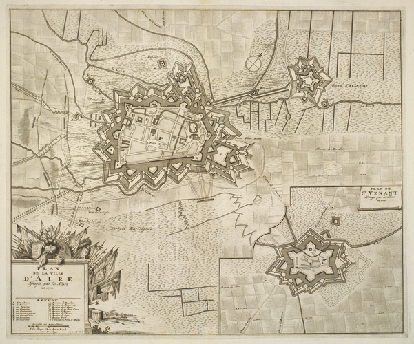 Map of the sieges of Aire and Saint-Venant, 1710 (Aire-sur-la-Lys, Nord-Pas-de-Calais, France) 50?38'19