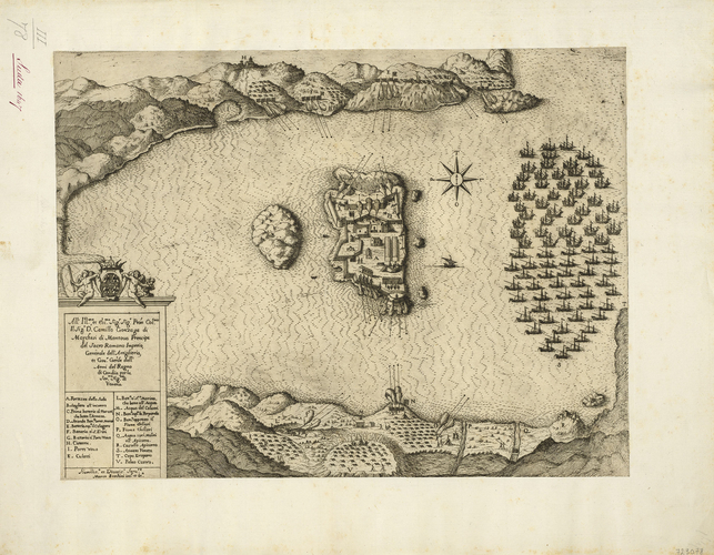View of the siege of Souda, 1646 (Nisi Souda [Souda, Suda], Crete, Greece) 35?29?19?N 24?09?09?E