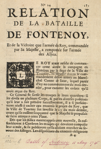 Master: PLAN DE LA BATAILLE DE FONTENOY REMPORTEE LE XI. MAY. M. DCC. XLV. . . Item: Battle of Fontenoy, 1745 (Fontenoy, Walloon Region, Belgium) 50?34'03