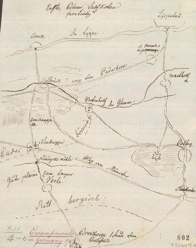 Master: [Encampments in Germany 1757] Item: Sketch of settlements near Lippstadt, 1757 (Lippstadt, North Rhine-Westphalia, Germany) 51?40'00