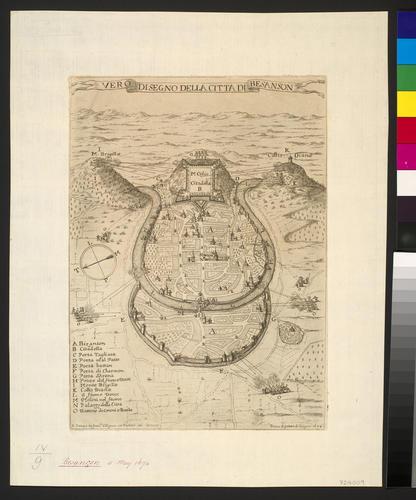 Map of the siege of Besancon, 1674 (Besancon, Franche-Comte, France) 47?14?55?N 06?01?05?E