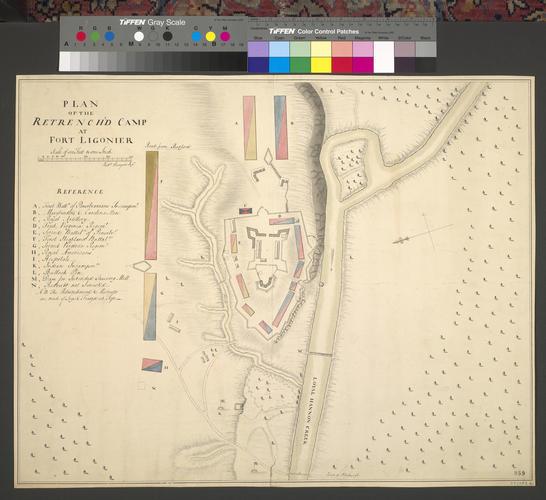 Item: Plan of encampment at Fort Ligonier, 1758 (Ligonier, Pennsylvania, USA) 40?14'35