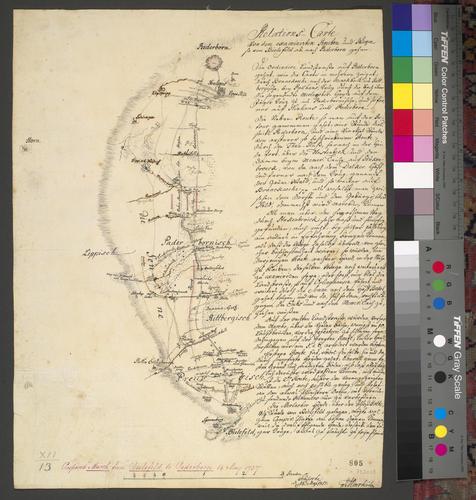 Map of Bielefeld and Paderborn, 1757 (Bielefeld, North Rhine-Westphalia, Germany) 52?02'00