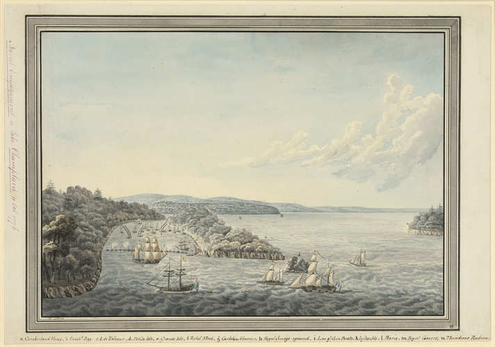 View of the Battle of Valcour Island, 1776 (Lake Champlain, New York, USA) 44?37'08