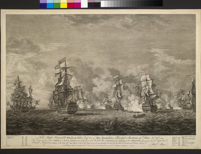 View of naval battle at Cape Logos, 1759 (off Leixao da Cruz, Lagos, Portugal) 37?04'45