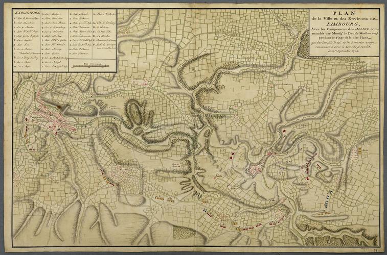 Map of the siege of Limbourg, 1703 (Limbourg, Walloon Region, Belgium) 50?36'44