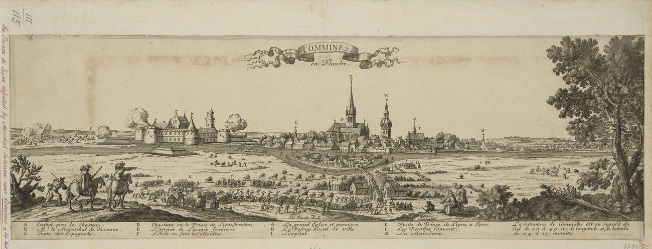 A view of Comines, 1658 (Comines [Commines], Hauts-de-France [before 1/1/2016 Nord-Pas-de-Calais], France) 50?45?41?N 03?00?38?E
