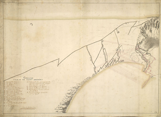 Map of the siege of Gibraltar, 1727 (Gibraltar, British Overseas Territory) 36?08'00