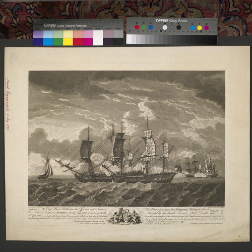 Item: View of the naval battle at Ushant, 1780 (Ushant, Brittany, France) 48?27'27