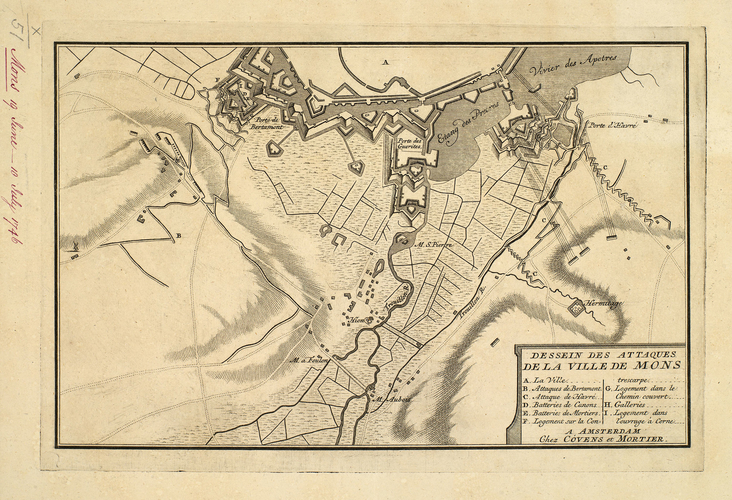 Map of the siege of Mons, 1746 (Mons, Walloon Region, Belgium) 50?27'14