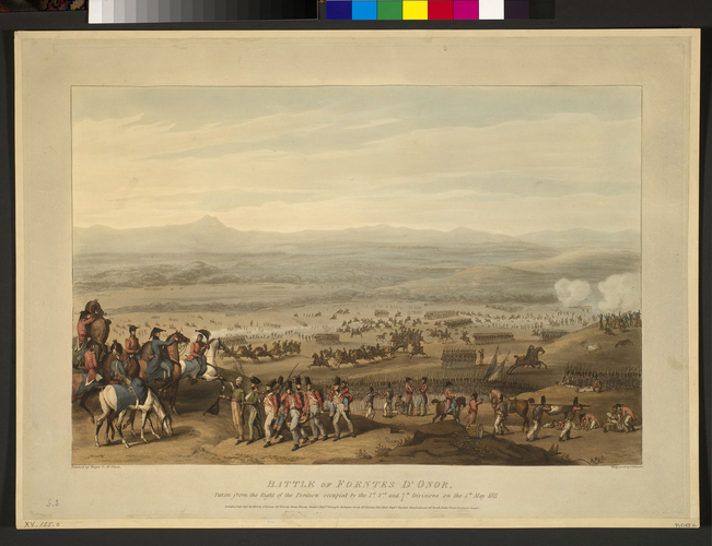 Master: Spain Twelve Views of the principal occurences of the Campaigns of 1810 and 1811 in Spain and Portugal: by Major T. S. t Clair, engraved by C. Turner, 1812-15. Item: Fuentes de O?oro, 1811 (F