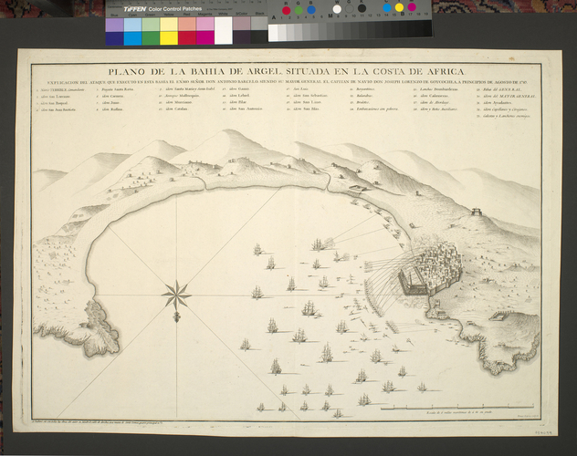 Map of Algiers, 1783 (Algiers, Algeria) 36?45'09