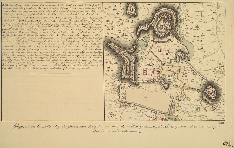 Map of Gingee, 1761 (Gingee, Tamil N?du, India) 12?15'00