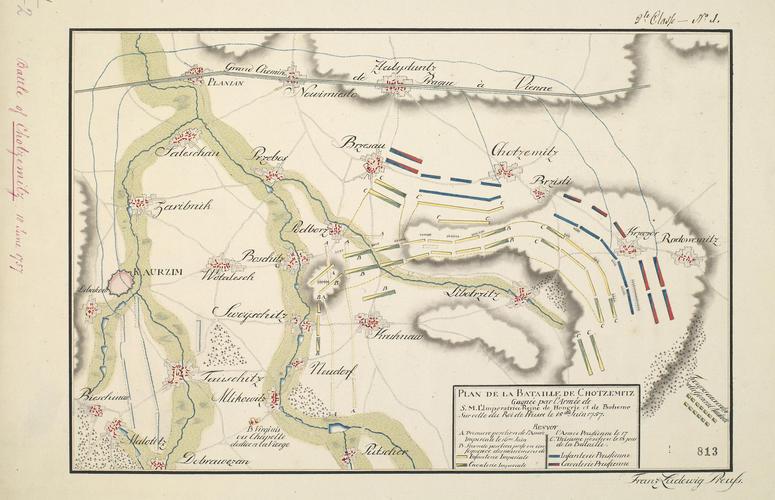 Master: PLAN DE LA BATAILLE DE CHOTZEMITZ, . . . Item: Map of the Battle of Chotzemitz (Kolin), 1757 (Chocenice, Stredocesky Kraj, Czech Republic) 50?01'46