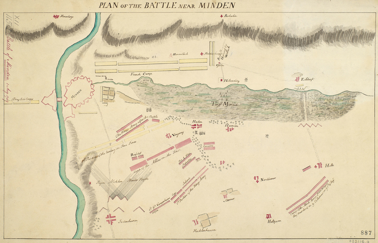Master: [Battle of Minden 1 August 1759] Item: Map of the Battle of Minden, 1759 (Minden, North Rhine-Westphalia, Germany) 52?17'00