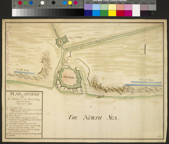 Map of encampment at Ostend, 1745 (Oostende, Flanders, Belgium) 51?13'24