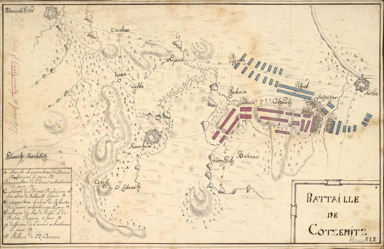 Map of the Battle of Chotzemitz (Kolin), 1757 (Chocenice, Stredocesky Kraj, Czech Republic) 50?01'46
