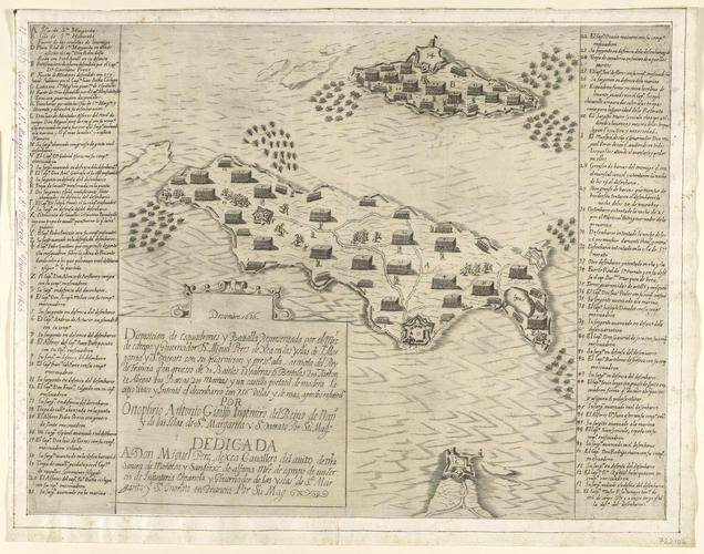 View of Ile Sainte-Marguerite and Ile Saint-Honorat, 1635 (Ile Sainte-Marguerite, Provence-Alpes-Cote d?Azure, France) 43?31?08?N 07?03?04?E; (Ile Saint-Honorat, Provence-Alpes-Cote d?Azure, France) 4
