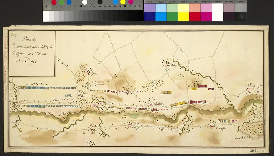 Map of encampment at Avelgem, 1744 (Avelgem, Flanders, Belgium) 50?46'34
