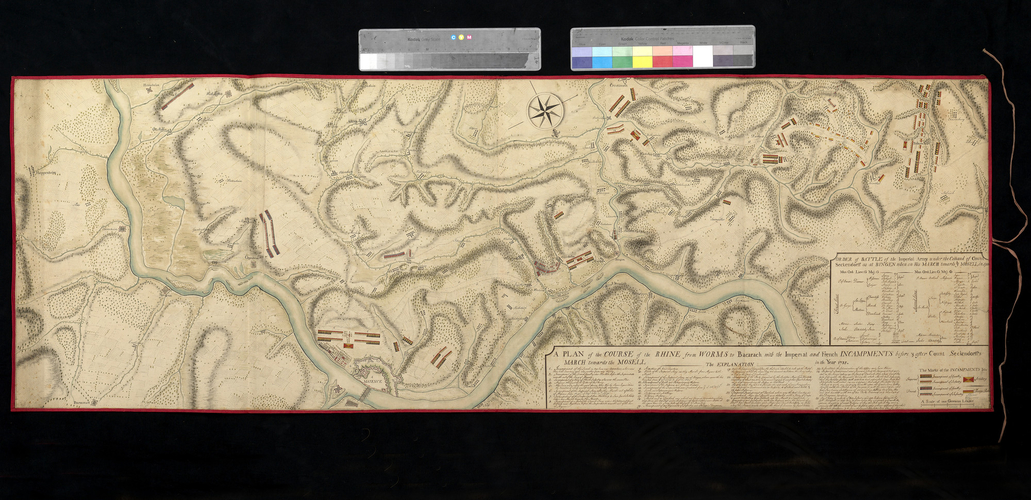 Map of the Moselle and Rhine, Bacharach and Worms, 1735 (Bacharach, Rhineland-Palatinate, Germany) 50?03?26?N 07?46?10?E; (Worms, Rhineland-Palatinate, Germany) 49?38'08