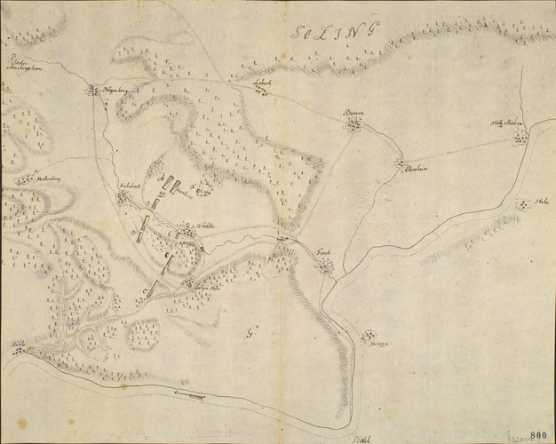 Master: [Encampments in Germany 1757] Item: Sketch of encampment near Golmbach, 1757 (Golmbach, Lower Saxony, Germany) 51?54'00