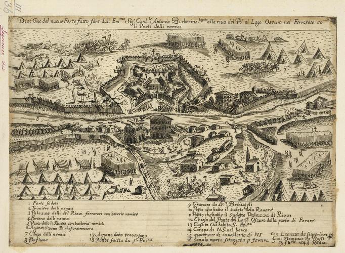 View of the siege of Pontelagoscuro, 1643 (Pontelagoscuro, Emilia-Romagna, Italy) 44?52?49?N 11?36?25?E