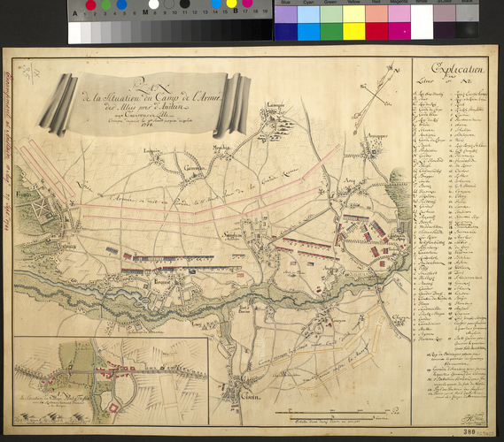 Map of encampment at Anstaing, 1744 (Anstaing, Nord-Pas-de-Calais, France) 50?36'17