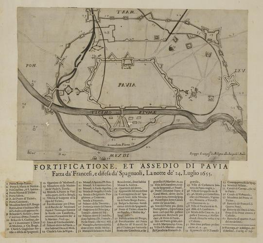 A map of the siege of Pavia, 1655 (Pavia, Lombardy, Italy) 45?11?31?N 09?09?33?E