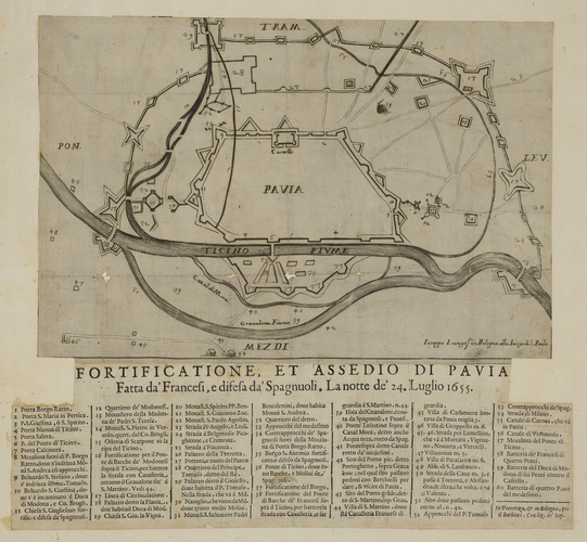 A map of the siege of Pavia, 1655 (Pavia, Lombardy, Italy) 45?11?31?N 09?09?33?E