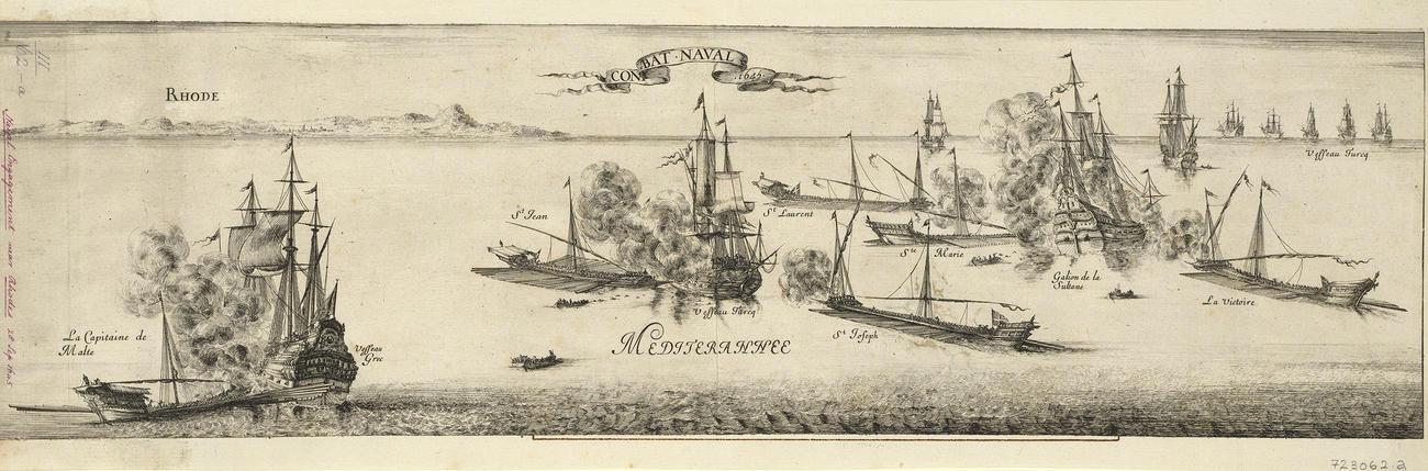 Master: Naval battle near Rhodes, 1645 (Rodos, South Aegean, Greece) 36?22?59?N 28?13?35?E Item: View of the naval battle near Rhodes, 1644 (Rodos, South Aegean, Greece) 36?22?59?N 28?13?35?E