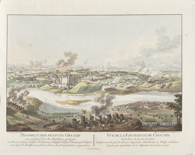 Master: Turkey, 1787-9 (Balkans; Ukraine) Item: View of the siege of Choczim, 1788 (Khotyn, Chernivets'ka, Ukraine) 48?30'24